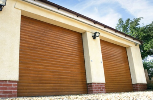 Double Roller Garage Doors in Wood Effect